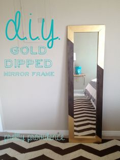 DIY Home Decor Inspiration : DIY gold-dipped mirror frame. This is the best beginner's DIY project ever, and . Gold Diy, Cheap Full Length Mirror, Diy Tisch, Room Color Schemes, Diy Mirror, Wood Mirror, Gold Dipped, Home And Deco, My New Room