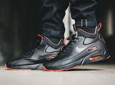 The Nike Air Max 90 Ultra Mid Winter is featured in a new Black Total  Crimson colorway this season. c7c787137
