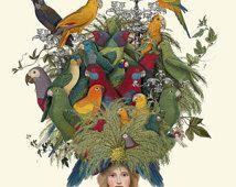 Fabelhafte Hat 4, Papageien Limited Edition Giclee Print 14 x 11 Wand Kunst Wand Dekor hängenden Geschenk für ihre ungewöhnliche Papagei Abbildung Papagei drucken
