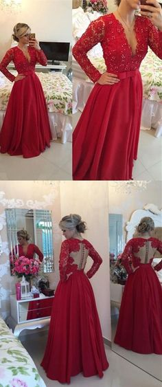 Sexy V-neck prom dresses lace beading prom dress bowknot watermelon red long-sleeves floor--length prom dress