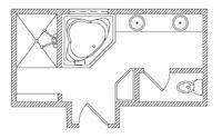 "Bathroom Floor plan - 215  sq. ft. 19' 02""  w x 11' 03""  l"