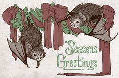 Bat Christmas Greetings.---Who told me just yesterday that Bats couldn't be christmasy?!