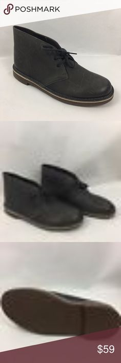 Clark-Bushacre-2 Grey-Leather-Mens-Chukka-Boot 11 Clarks Bushacre 2 Dark Grey Leather Mens Chukka Boot  Shoes Size US 11.5 M EU 45 M Career, Dress up or Casual The Bushacre 2 features :  Chukka boot, moccasin-style construction Two eyelet lace-up front Flexible leather upper Rubber and cushion insole Synthetic lining for comfortable walking experience. Clarks Shoes Chukka Boots