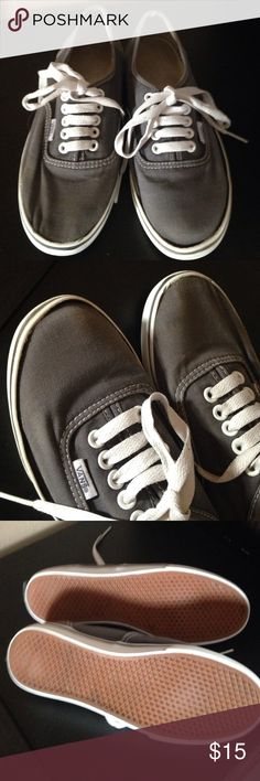 Gray Vans Pre owned pretty used   Scuffs, scrapes   Rubber slightly lifted. Woman 6.5  Men 5. Selling cheap vans  Shoes Sneakers