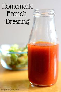 Make your own homemade french dressing with items you have in your pantry right now. I love how quick and easy this french dressing is to make. Its less expensive than the store bought dressing too. It has the perfect balance of sweet and tangy flavors. French Salad Dressings, Salad Dressing Recipes, Catalina Dressing Recipes, Swiss Chalet Salad Dressing Recipe, Homemade Salad Dressings, Sauce Recipes, Cooking Recipes, Healthy Recipes, Cooking Tips