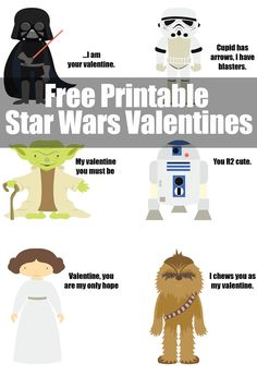 Free Printable Star Wars Valentines. Give your favorite Star Wars character as a Valentine's gift this year. Choose from Darth Vader, Stormtrooper, Yoda, R2D2, Princess Leia, and Chewy. www.eatdrinkandsavemoney.com