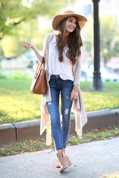 fall / winter - street style - street chic style - casual outfits - fall outfits - white v-neck t-shirt + beige long cardigan + beige suede booties + nude floppy hat + brown handbag
