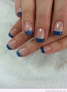 Blue glitter tips with white details for Christmas