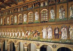 Mosaicos de San Apolinar Nuevo, posteriores a su re-consagración. Rávena.