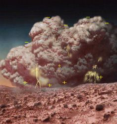 An artist's concept of a Martian dust storm, showing how electrical charge builds up as in terrestrial thunderstorms. Though on Earth, lightning is common, there is no evidence that lightning accompanies storms on Mars. (Photo: NASA)