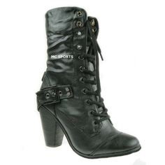 LADIES HIGH HEELED MILITARY ARMY COMBAT BOOTS SIZE 3-8 ❤ liked on Polyvore
