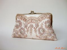 Elegant wedding clutch, Lace Silk Clutch in Champagne Pink, Vintage inspired , wedding bag, bridesmaid clutch, Bridal clutch