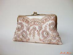 Elegant wedding clutch / Lace Silk Clutch in Champagne Pink, Rose gold / Vintage inspired / wedding bag / Bridal clutch - On Sale/ Last one