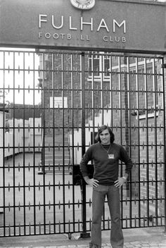 1977. George Best outside the gates at Craven Cottage, Fulham.