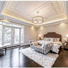 built this fabulous custom home and we took the pleasure in staging it! How gorgeous is the ceiling design 😍 Ceiling Detail, Ceiling Design, Master Suite, Master Bedroom, Hardwood Floors, Flooring, Aesthetic Value, Cozy Nook, French Doors