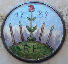 Patriotic French Revolution 1 Piece Enameled Coat Button 1789 RF Liberty Cap