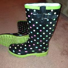 Polka dot rain boots Western chief lime green and black with multi color polka dots. Slight crack at the toe but not a big deal. These are very loved!!! In decent condition Shoes Winter & Rain Boots
