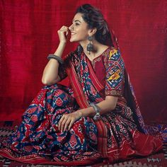 Items similar to New concept launching Patola saree on Etsy Indian Dresses, Indian Outfits, Pakistani Outfits, Churidar, Anarkali, Lehenga Choli, Saree Photoshoot, Indian Photoshoot, Saree Trends
