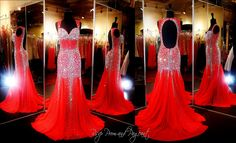Youthful, playful, sexy... all of the above! This red gown is covered with sparkling crystals. Its sweetheart bodice gives way to thick beaded straps that open up to a sexy low open back. The skirt flares out in a fabulous mermaid silhouette! ONLY at Rsvp Prom and Pageant, Atlanta, Georgia