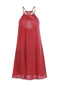 Red Spaghetti Strap Crochet Lace Dress in Red | Sammydress.com