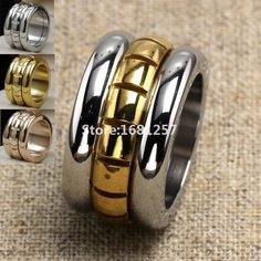 DASR142 Free Shipping Finger rings gold with steel smooth wide stainless steel wedding rings 2015 fashion women jewelry