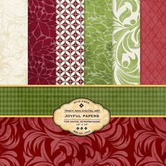 Christmas Digital Papers for scrapbooking, card making, Invites, photo cards - Joyful. $4.95, via Etsy.