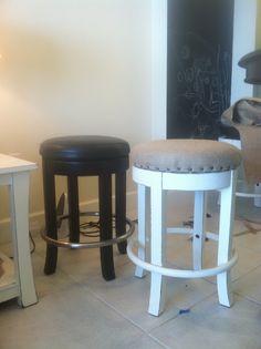 My REdesign Life: The burlap nailhead bar stool project