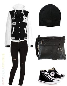 Cute Outfits The most stylish garment for this season is the bomber jacket in black and white. If you are a teen, combine it with ripped skinny jeans and black converse. Accessorize with your school bag and colorful bracelets.