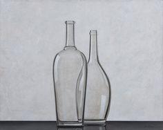 HENK BOON Beeldend kunstenaar : Compositie 2 flessen, olieverf/doek, 80 X 100 cm