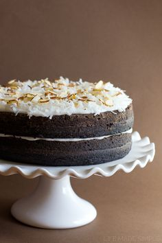 Dark Chocolate Layer Cake (Dairy-Free). Tastes like an Mounds Cake (or Almond joy if almonds are added)