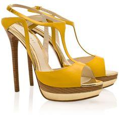 ELIE SAAB T-Bar Peep Toe Platform Sandals ❤ liked on Polyvore