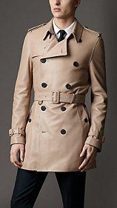 74087cb59d0 Mid-Length Matte Lambskin Trench Coat Trench Coats