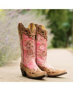 Corral Women's Fluorescent Pink/Cognac Collar and Wing Tip Boot from where I go to buy my Boots. Pink Cowgirl Boots, Cowgirl Chic, Cowgirl Style, Western Boots, Cowboy Boots, Pink Boots, Brown Boots, Cowgirl Room, Cowgirl Belts