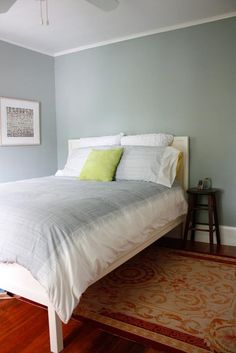 I like the soothing colors of this bedroom. Paint = Benjamin Moore Charlotte Slate