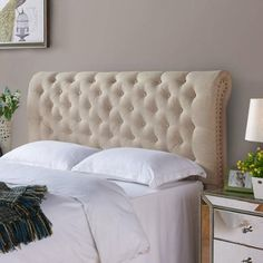 AMAZING Pottery Barn Look Alike!! This Better Homes and Gardens Rolled Tufted Upholstered Headboard from www.walmart.com retails for only $149 to $179 and is an exact match for the Pottery Barn Chesterfield Upholstered Headboards that retail for $849 to over $2000 each. LOVE LOVE LOVE!