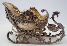 BEAUTIFUL Sterling Silver Sleigh Master Salt Cellar with Glass Inserts