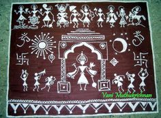 My Kolam: Dasavatar warli kolam Madhubani Art, Madhubani Painting, Indian Wall Art, Worli Painting, Rajasthani Painting, Indian Art Paintings, India Art, Art N Craft, Traditional Paintings