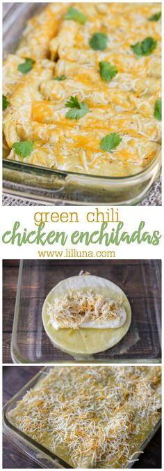 One of our favorite Mexican dishes - Green Chile Chicken Enchiladas recipe! Corn tortillas stuffed with chicken cheese las palmas green chile enchilada sauce sour cream and green chiles topped with more sauce and cheese! Green Chile Enchilada Sauce, Recipes With Green Enchilada Sauce, Chicken Enchilada Recipes, Recipe Chicken, Sour Cream Enchilada Sauce, Green Chicken Enchilada Casserole, Corn Tortilla Recipes, Enchiladas With White Sauce, Recipes With Chicken