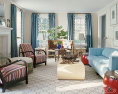 Living room in Southampton, New York, decorated by Katie Ridder.
