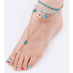"""Beaded flower Accent toe Anklets/Set. Price firm. Barefoot Sandals! Ready for the beach and/or festival time! Gold tone beaded flower accent toe anklets. Set of 2. Adjustable strap approx 5"""" diameter. Lead compliant. Jewelry"""