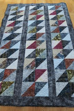 Batik Twin or long lap quilt with blues and multicolors handmade 58 x 85 Longarm Quilting, Machine Quilting, Quilting Ideas, Triangle Quilt Tutorials, Half Square Triangle Quilts, Patchwork Quilt Patterns, American Quilt, Lap Quilts, Quilt Bedding