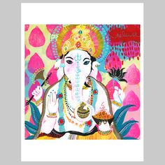 """Ganesh - remover of obstacles in gorgeous Jessica Swift glory! Jessica has infused this one with a special energy of """"RELEASE"""". by Jessica Swift Om Gam Ganapataye Namaha, She's A Rainbow, The Desire Map, Lord Ganesha, Sri Ganesh, Book Of Life, Illustration Art, Illustrations, Moose Art"""