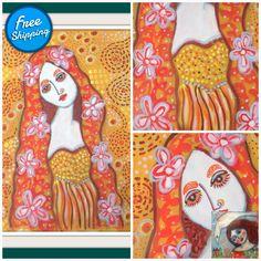 Enchantment I - original acrylic painting figurative expressionism pop art street art modern folk painting Virtual Museum, Fantasy Paintings, Joy Of Life, Naive Art, Expressionism, Figurative, Childhood Memories, Folk Art, Modern Art