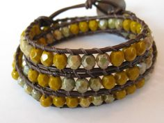 Brown leather beaded wrap bracelet with mustard toned czech glass beads and brown nylon thread