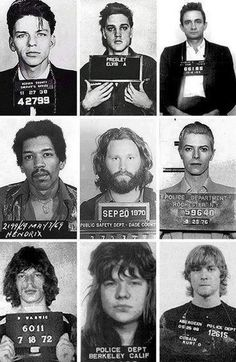 """Mugshots of rock : I think Bowie's is the best. at least less rock stars are going to jail now. Instead their all vegans and drinking kombucha. Now the Pop kids wanna b """"cool"""""""