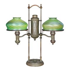 Tiffany Studios Bronze and Favrile Glass Double Student Oil Lamp.