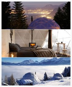 Whitepod hotel. Les Giettes, Switzerland. A hotel outdoors