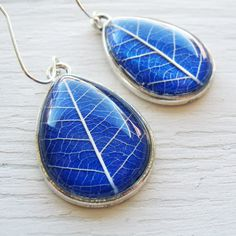 Real Botanical Earrings Cobalt Blue and Silver Teardrop