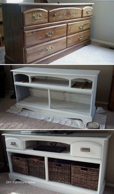 TV Stand Makeover: Turn an old wooden dresser into this gorgeous TV stand with s. - TV Stand Makeover: Turn an old wooden dresser into this gorgeous TV stand with some white paints an - Diy Furniture Hacks, New Furniture, Furniture Projects, Furniture Makeover, Living Room Furniture, Furniture Design, Cream Furniture, Living Rooms, Diy Projects