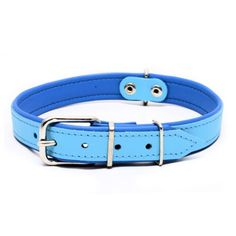 Soft Handmade Genuine Leather Dog Collar in Aqua / Blue